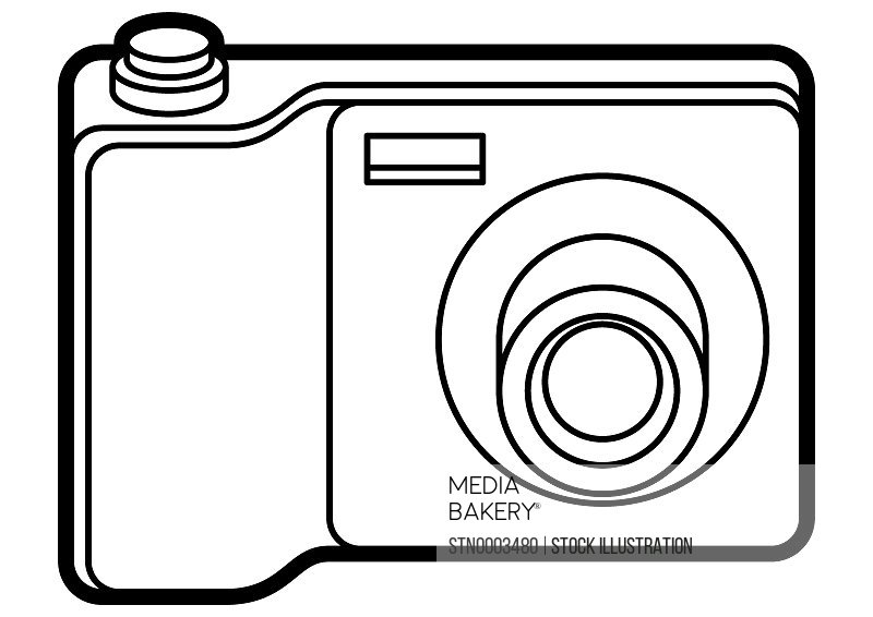Digital camera on white background