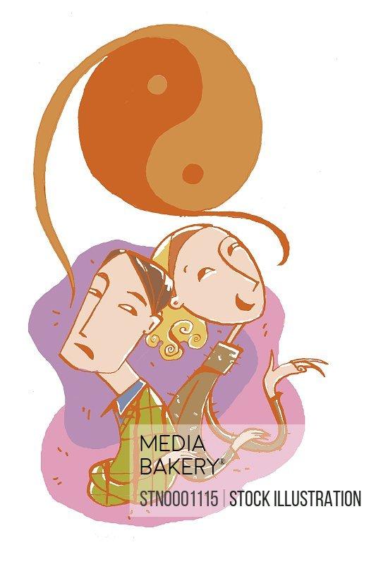 Woman and man with yin yang symbol