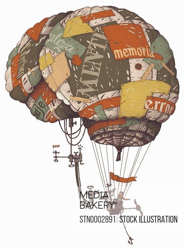 Man flying in brain-shaped hot-air balloon