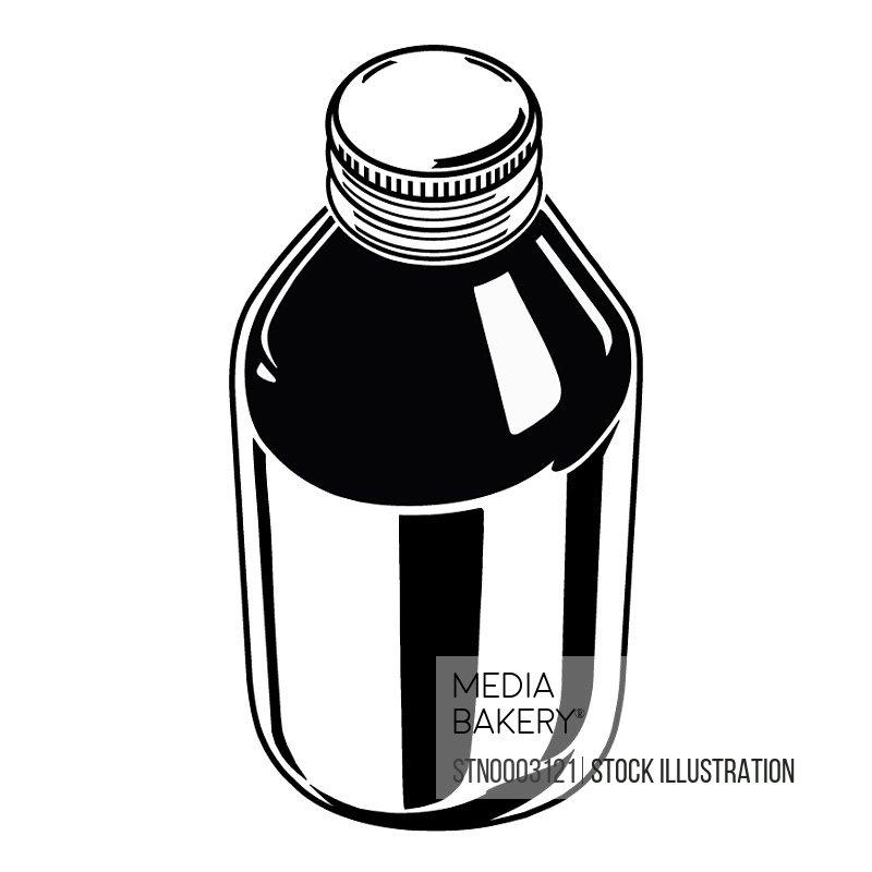 Cough medicine on white background