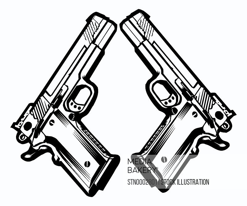 Two hand guns on white