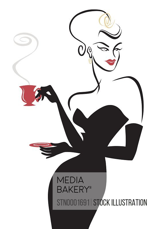 Woman wearing evening gown drinking coffee