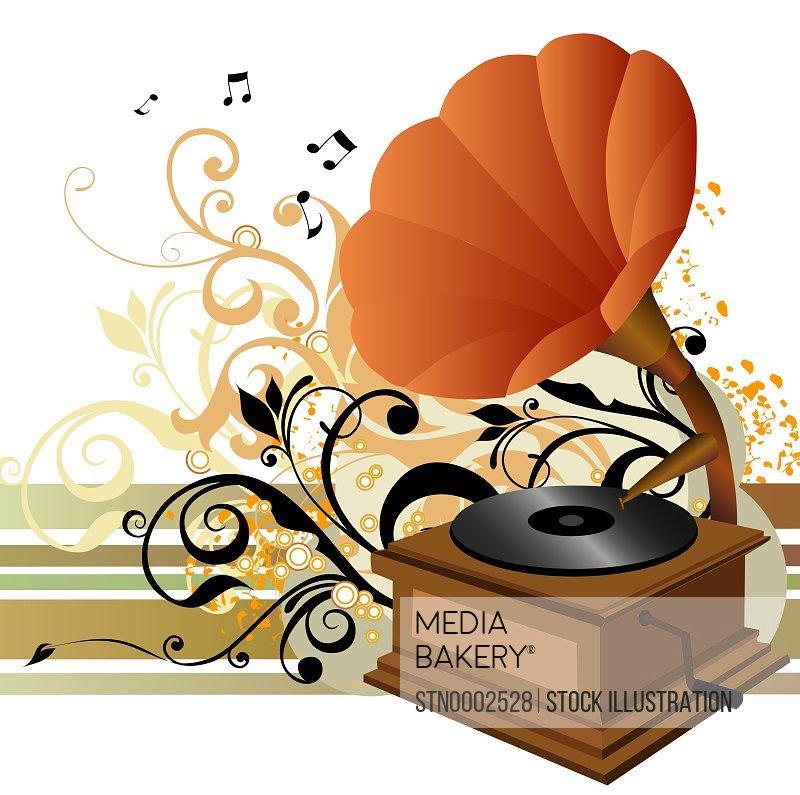 Orange gramophone