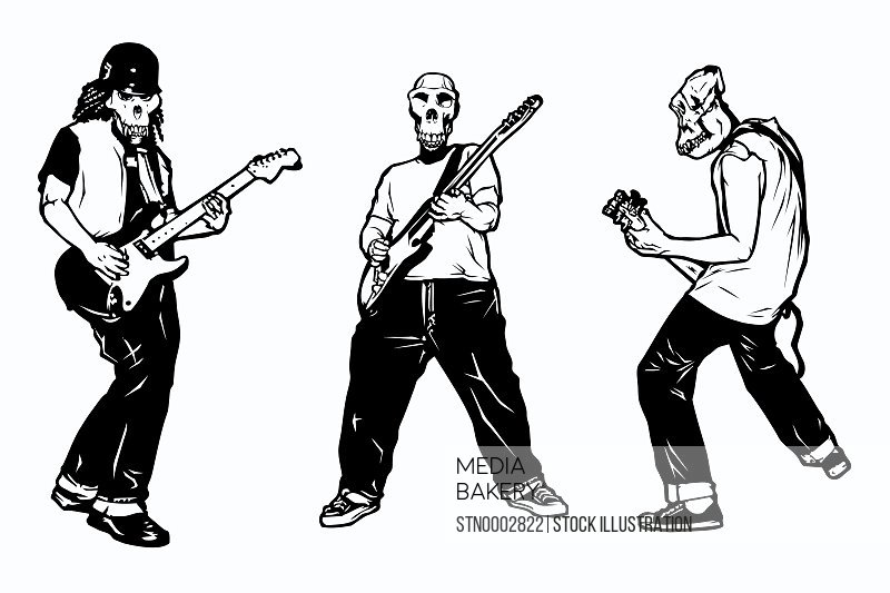 Musicians with guitars and face masks