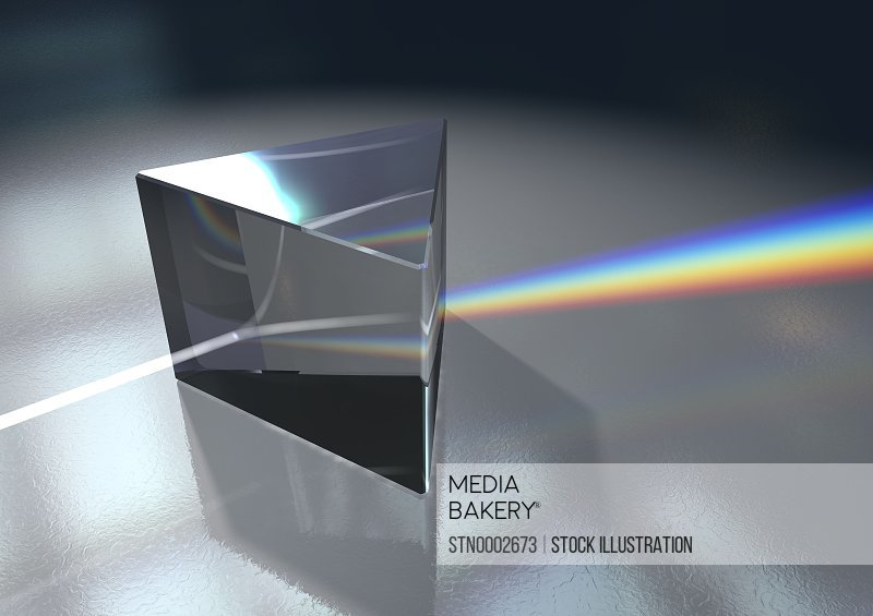Prism and spectrum on glass surface