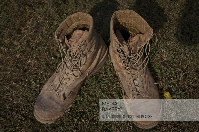 A pair of combat boots belonging to a U.S. Marine Corps Sergeant.