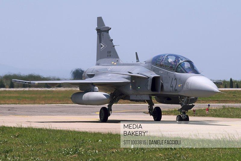 Photo by StockTrek Images - A Hungarian Air Force JAS-39D Gripen
