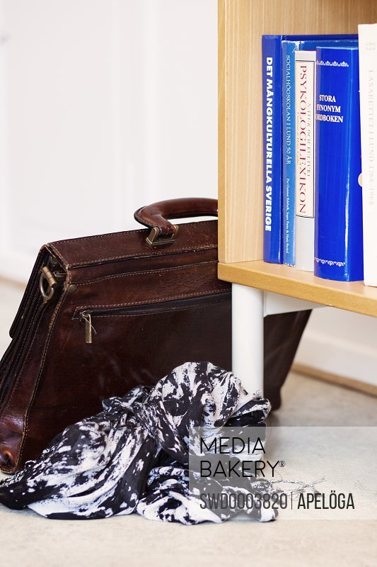 Bookshelf with briefcase on floor