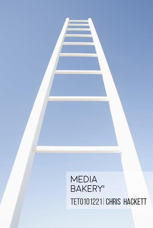 White ladder against clear sky