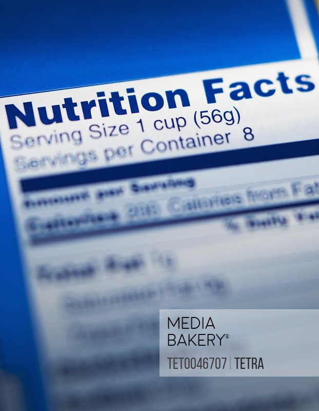 Close-up of nutrition information