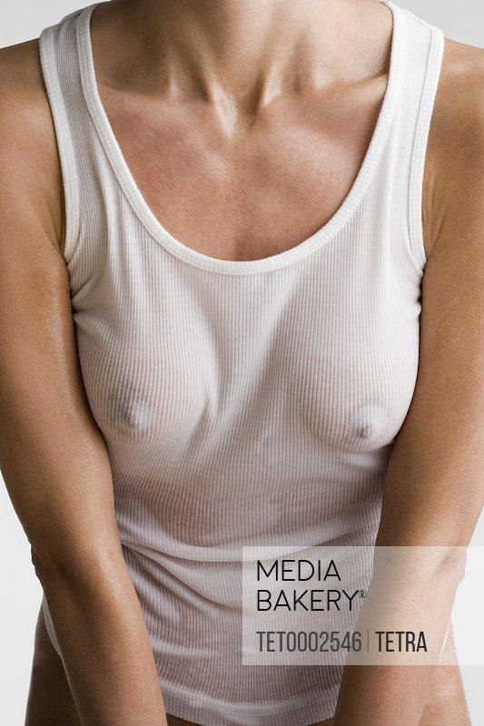 Woman wearing wet t-shirt