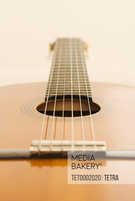 Closeup of acoustic guitar