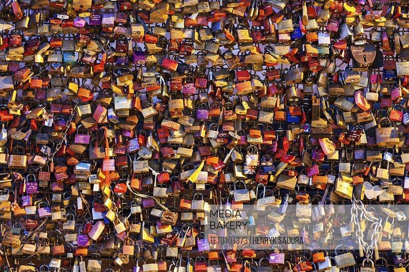 Germany North Rhine-Westphalia Cologne Love padlocks on Hohenzollern Bridge