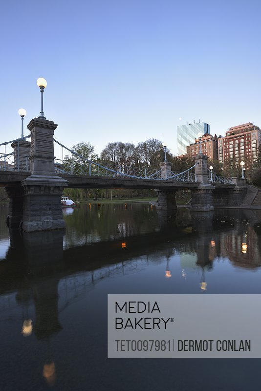 Boston public garden at dawn