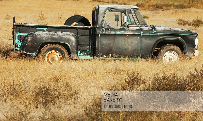 Vintage pickup truck in field