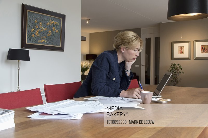 Businesswoman working art home