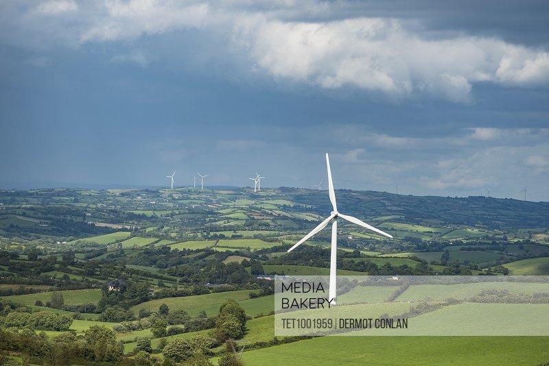 Ireland, County Cavan, Landscape with wind turbines
