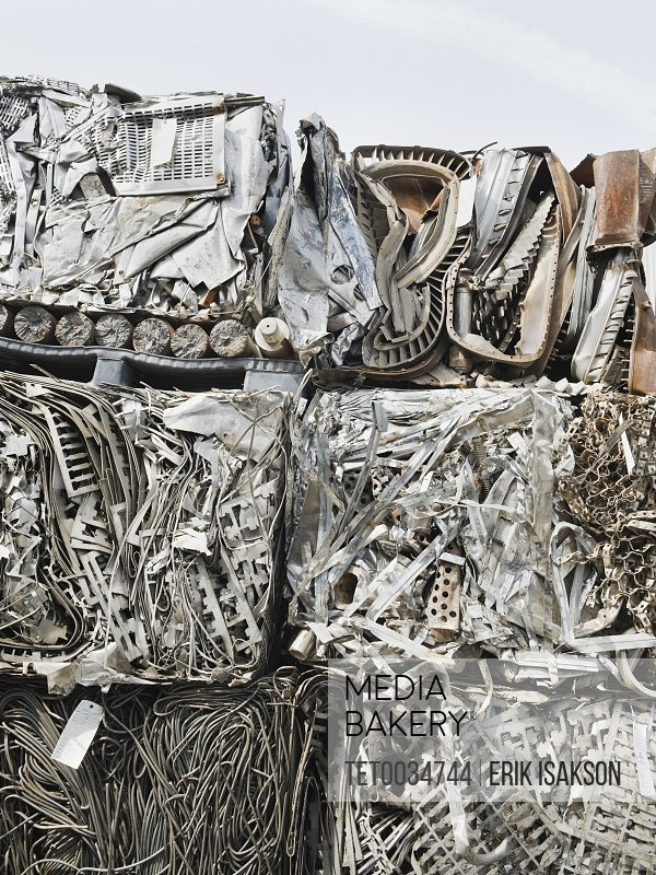 Stacks of recycled metal