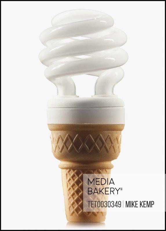 Compact fluorescent light bulb in an ice cream cone