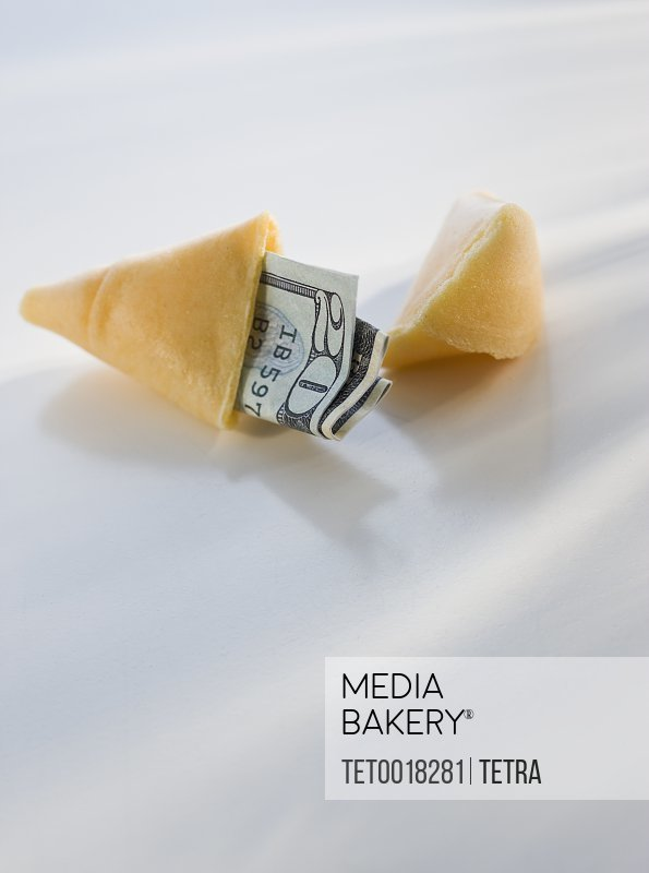 Money in fortune cookie