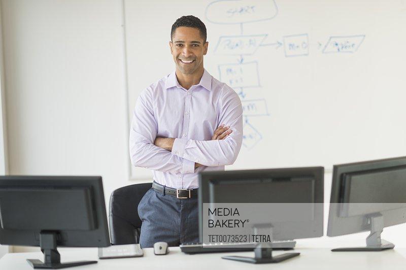 Portrait of male business executive at desk