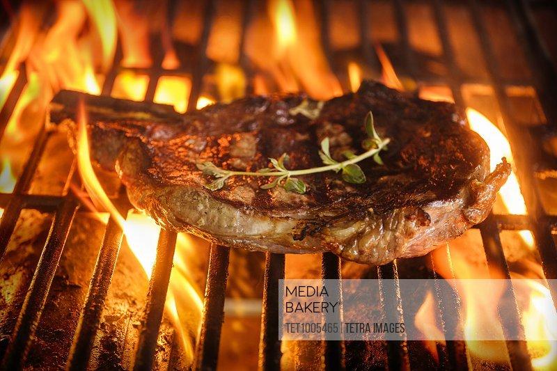 Steak and oregano on grill
