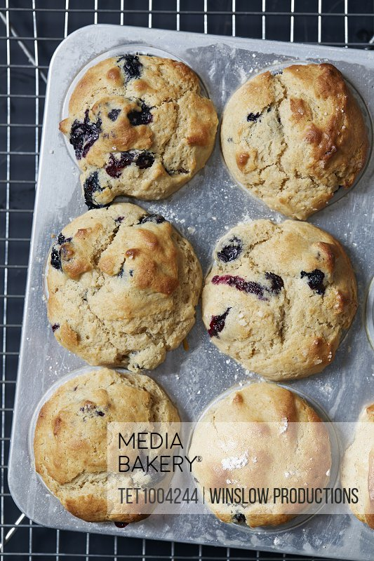 Directly above view of blueberry muffins