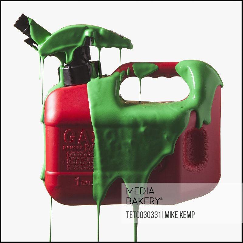 Gas can covered in green paint