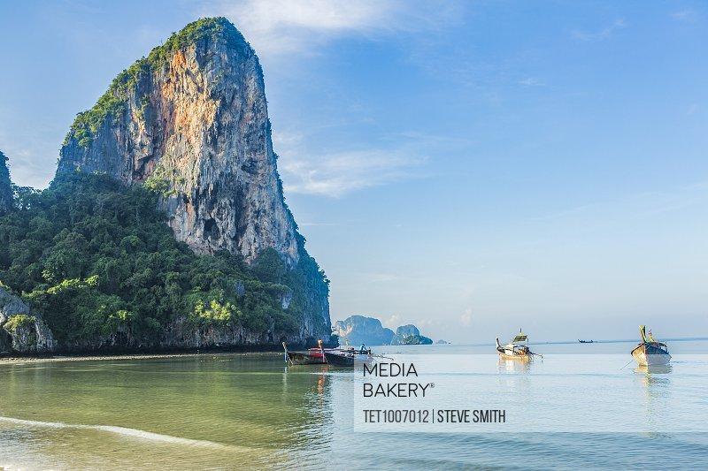 Cliffs by sea in West Railay, Thailand