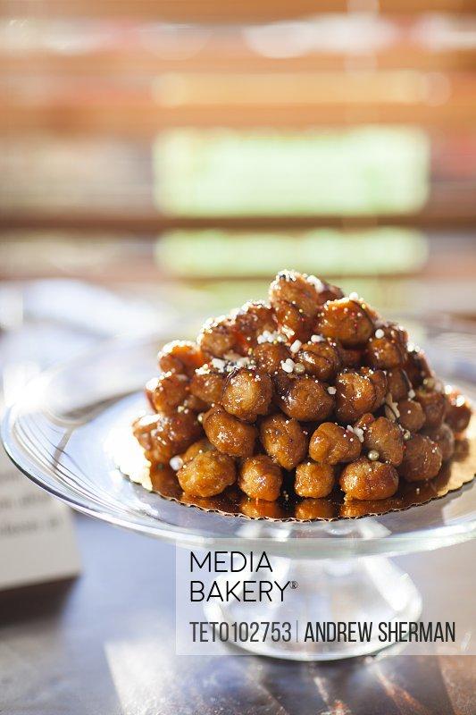 Loukoumades greek dessert on platter