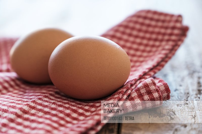 Eggs lying on tablecloth
