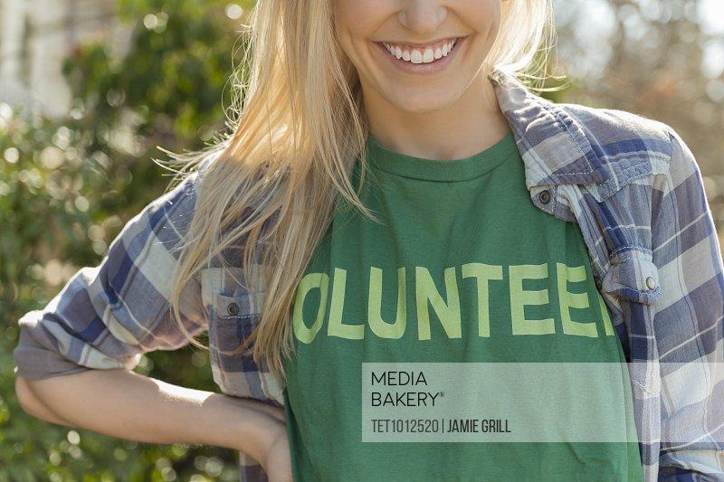 Woman in volunteer t-shirt