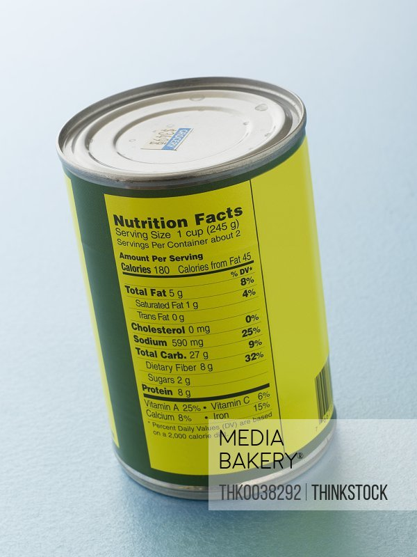 Nutrition facts label on a food can