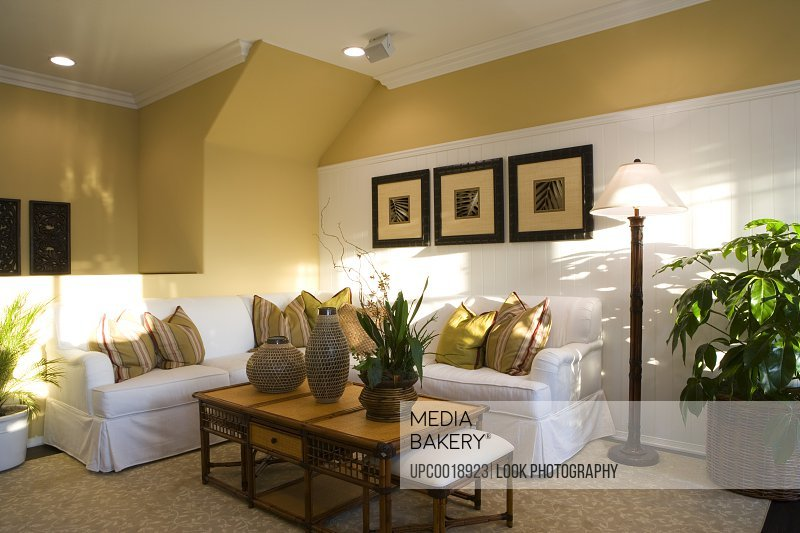 Cozy Living Room with White Corner Couch