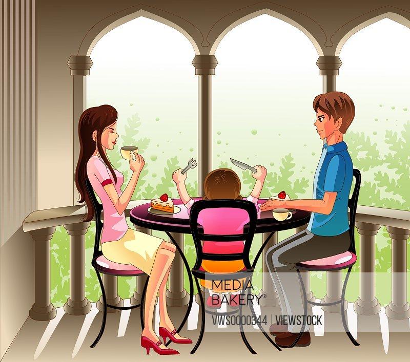 Illustration of family eating food together