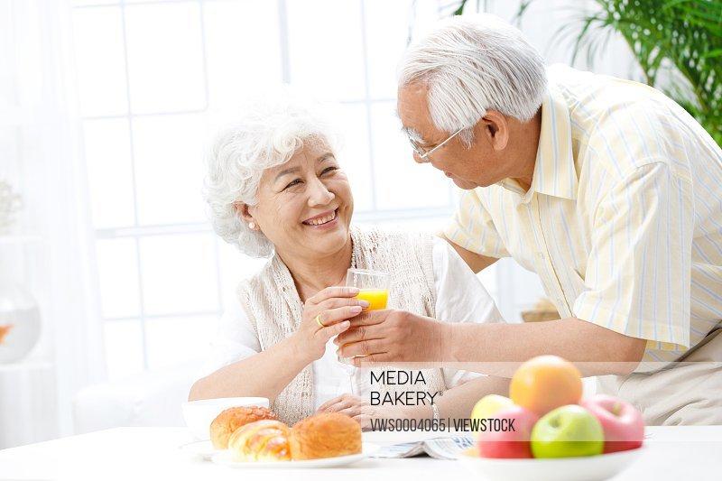 Old couple in harmoniuos