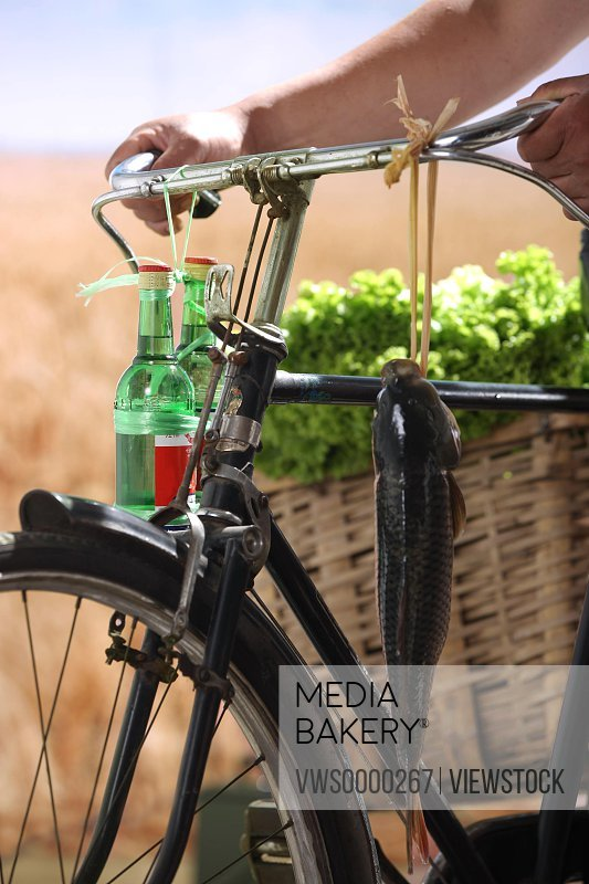 Fish,vegetables and drinks on bicycle