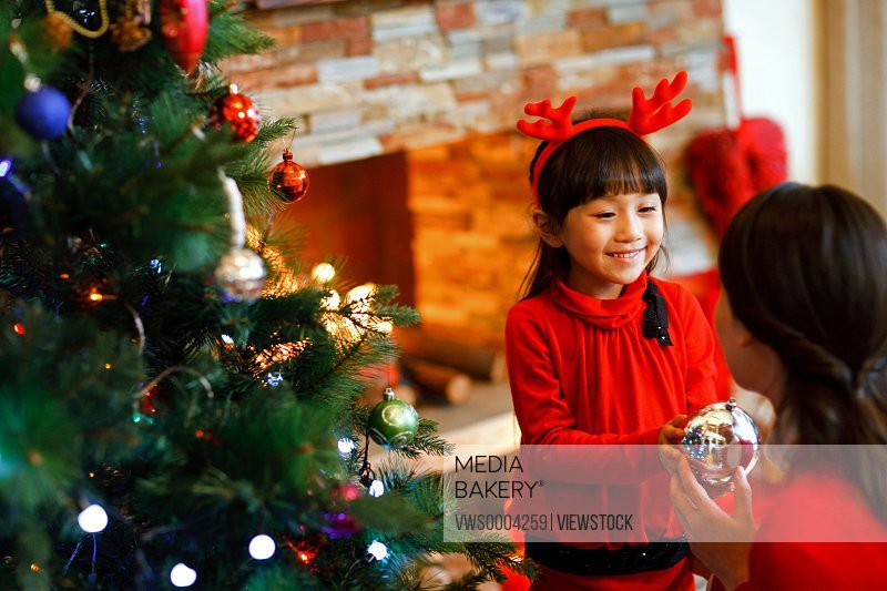 A happy little girl in Christmas