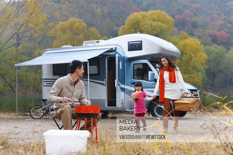 Family camping in the wild