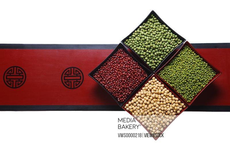 Red bean,mung bean and soybean