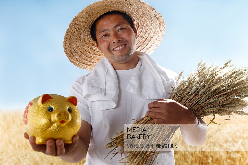 Farmer holding wheat and piggy bank