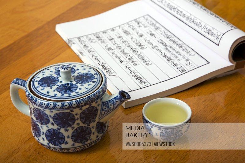 Tea set and book still life