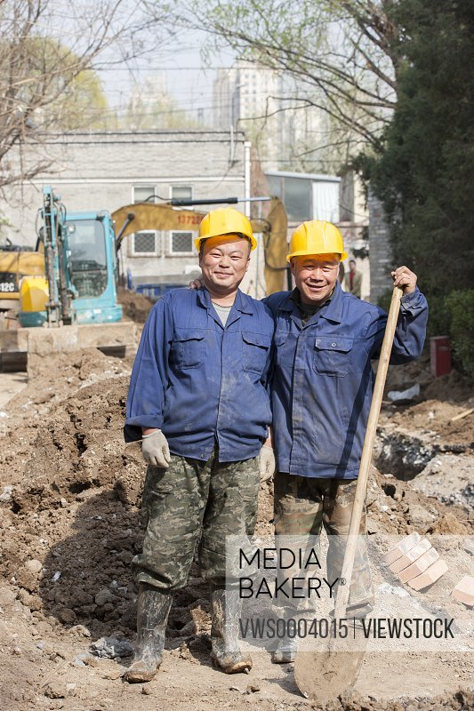 Father and son on the construction site