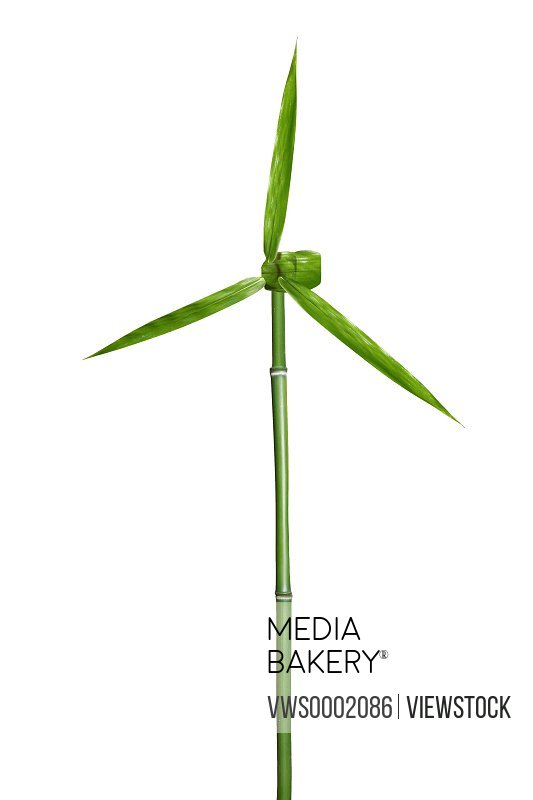 Windmill made of bamboo and bamboo leaves