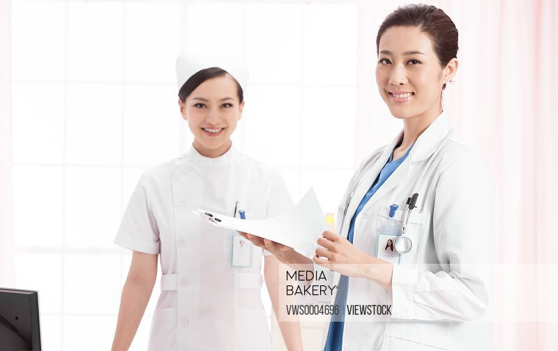 Two portrait of doctors on white background