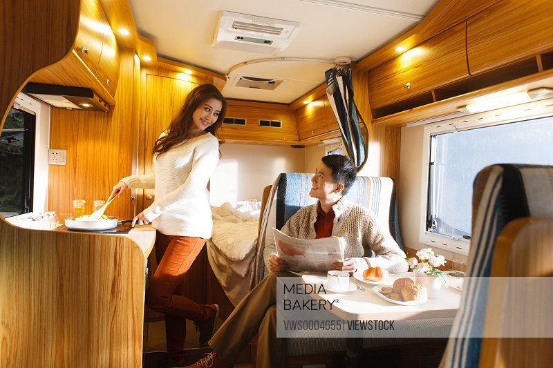 Young couple in a motor home