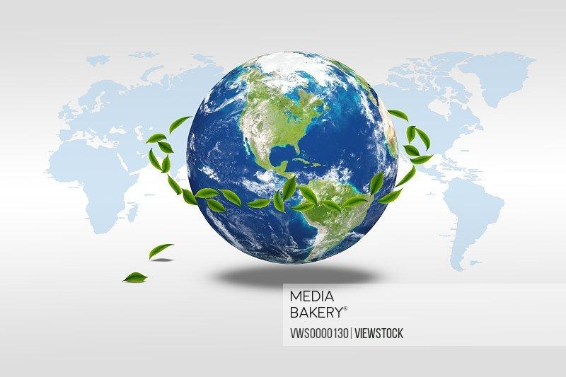 Digital composite of greenn leaf and earth