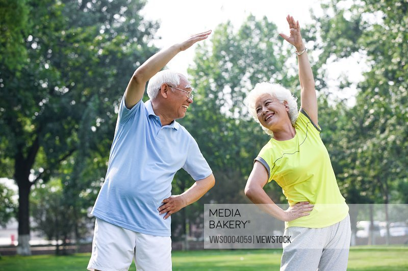 Old couple do physical exercise