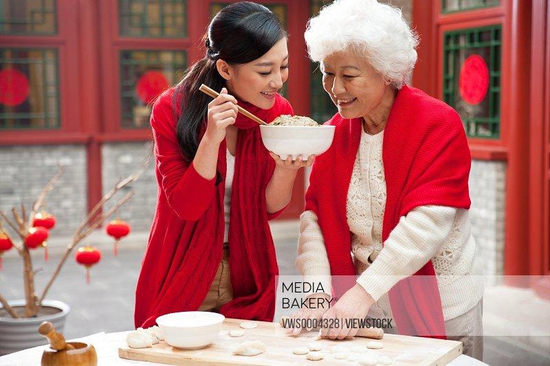 Oriental New Year family having reunion dinner