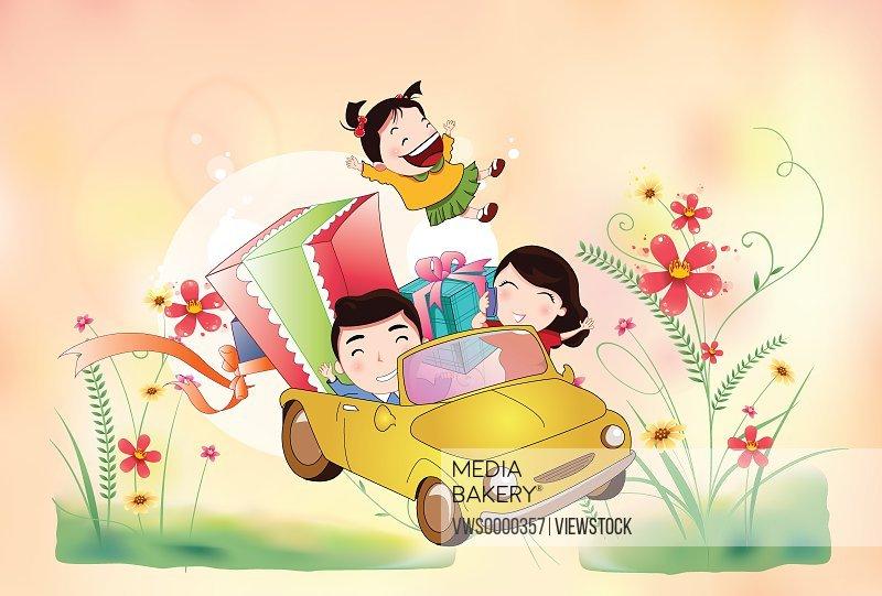 Illustration of family in car